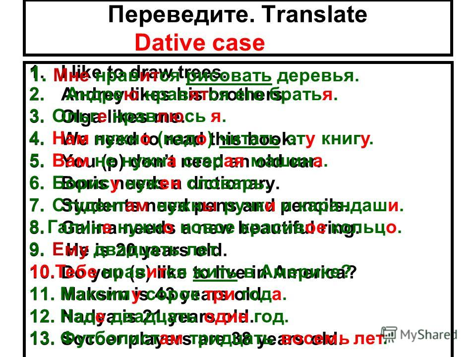 Переведите. Translate 1.I like to draw trees. 2.Andrey likes his brothers. 3.Olga likes me. 4.We need to read this book. 5.You (p) dont need an old car. 6.Boris needs a dictionary. 7.Students need pens and pencils. 8.Galina needs a new beautiful ring