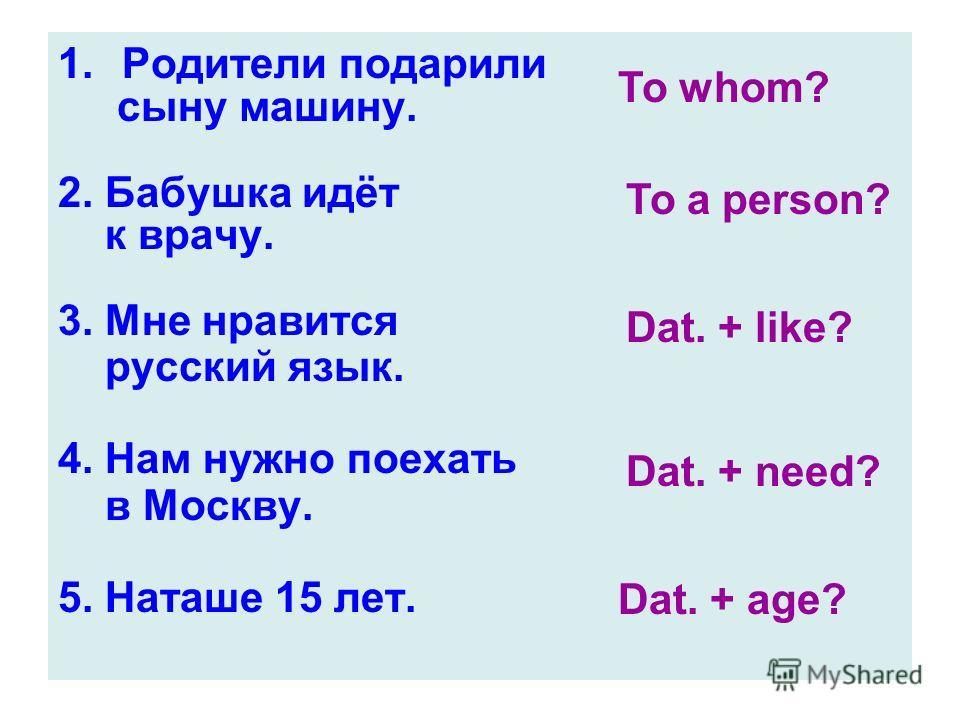 1.Родители подарили сыну машину. 2. Бабушка идёт к врачу. 3. Мне нравится русский язык. 4. Нам нужно поехать в Москву. 5. Наташе 15 лет. To whom? To a person? Dat. + like? Dat. + need? Dat. + age?