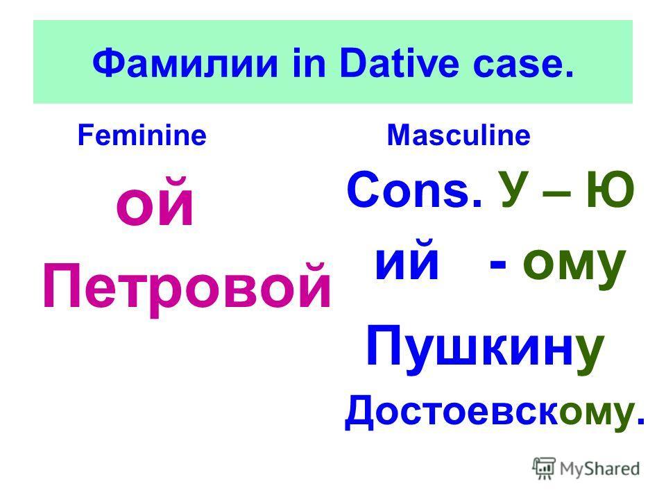 Фамилии in Dative case. Feminine ой Петровой Masculine Cons. У – Ю ий - ому Пушкину Достоевскому.