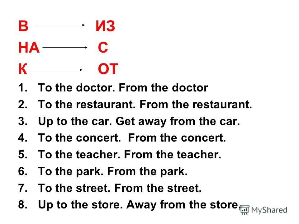 В ИЗ НА С К ОТ 1.To the doctor. From the doctor 2.To the restaurant. From the restaurant. 3.Up to the car. Get away from the car. 4.To the concert. From the concert. 5.To the teacher. From the teacher. 6.To the park. From the park. 7.To the street. F