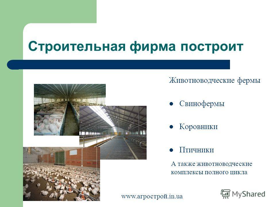 Строительная фирма построит Животноводческие фермы Свинофермы Коровники Птичники А также животноводческие комплексы полного цикла www.агрострой.in.ua