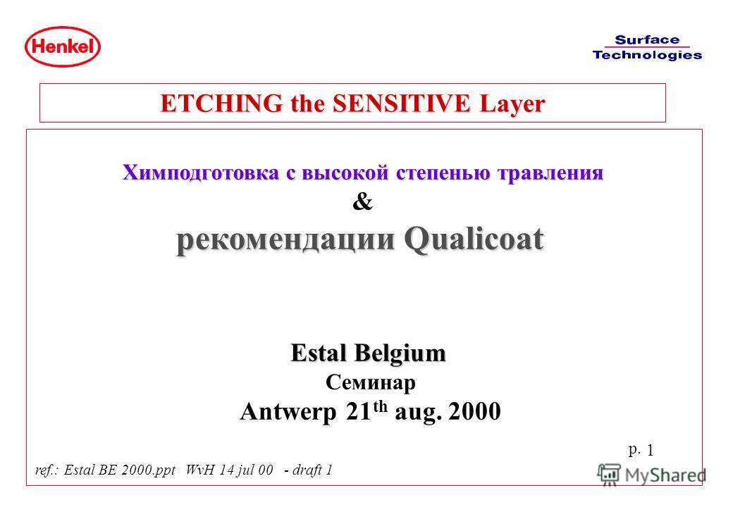 p. 1 Химподготовка с высокой степенью травления & рекомендации Qualicoat Estal Belgium Семинар Antwerp 21 th aug. 2000 ETCHING the SENSITIVE Layer ref.: Estal BE 2000.ppt WvH 14 jul 00 - draft 1
