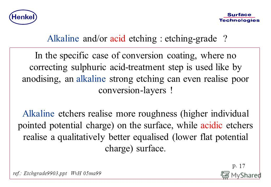 p. 17 In the specific case of conversion coating, where no correcting sulphuric acid-treatment step is used like by anodising, an alkaline strong etching can even realise poor conversion-layers ! Alkaline etchers realise more roughness (higher indivi
