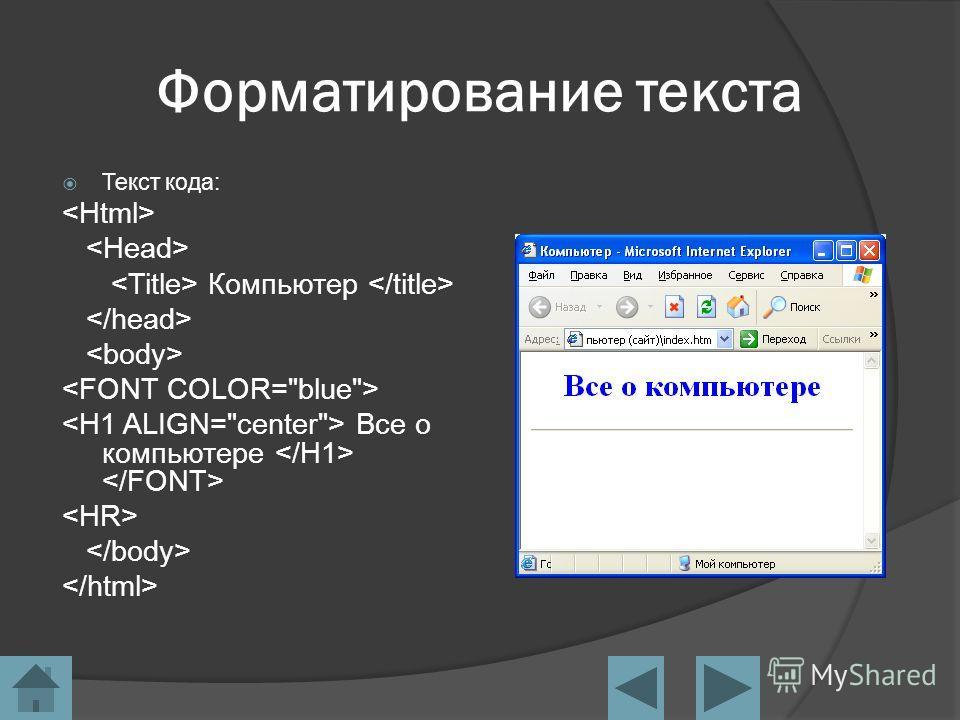 Форматирование текста Текст кода: Компьютер Все о компьютере