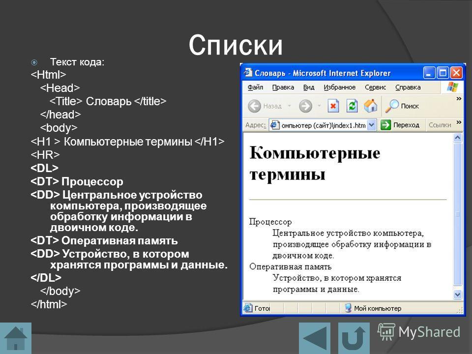 Списки Текст кода: Словарь Компьютерные термины Процессор Центральное устройство компьютера, производящее обработку информации в двоичном коде. Оперативная память Устройство, в котором хранятся программы и данные.