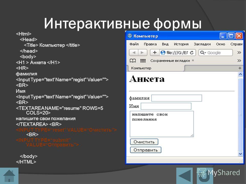 Интерактивные формы Компьютер Анкета фамилия Имя напишите свои пожелания
