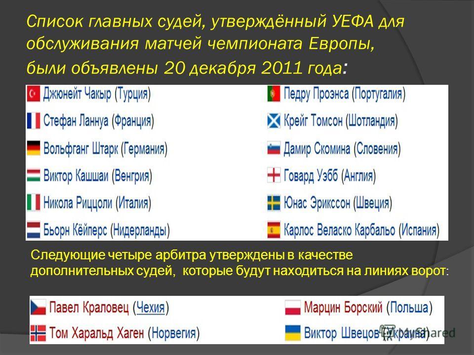 Список главных судей, утверждённый УЕФА для обслуживания матчей чемпионата Европы, были объявлены 20 декабря 2011 года : Следующие четыре арбитра утверждены в качестве дополнительных судей, которые будут находиться на линиях ворот :