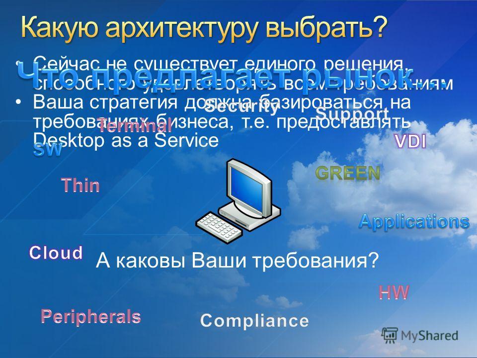 А каковы Ваши требования? Сейчас не существует единого решения, способного удовлетворять всем требованиям Ваша стратегия должна базироваться на требованиях бизнеса, т.е. предоставлять Desktop as a Service