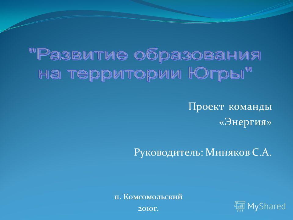 Проект команды «Энергия» Руководитель: Миняков С.А. п. Комсомольский 2010г.