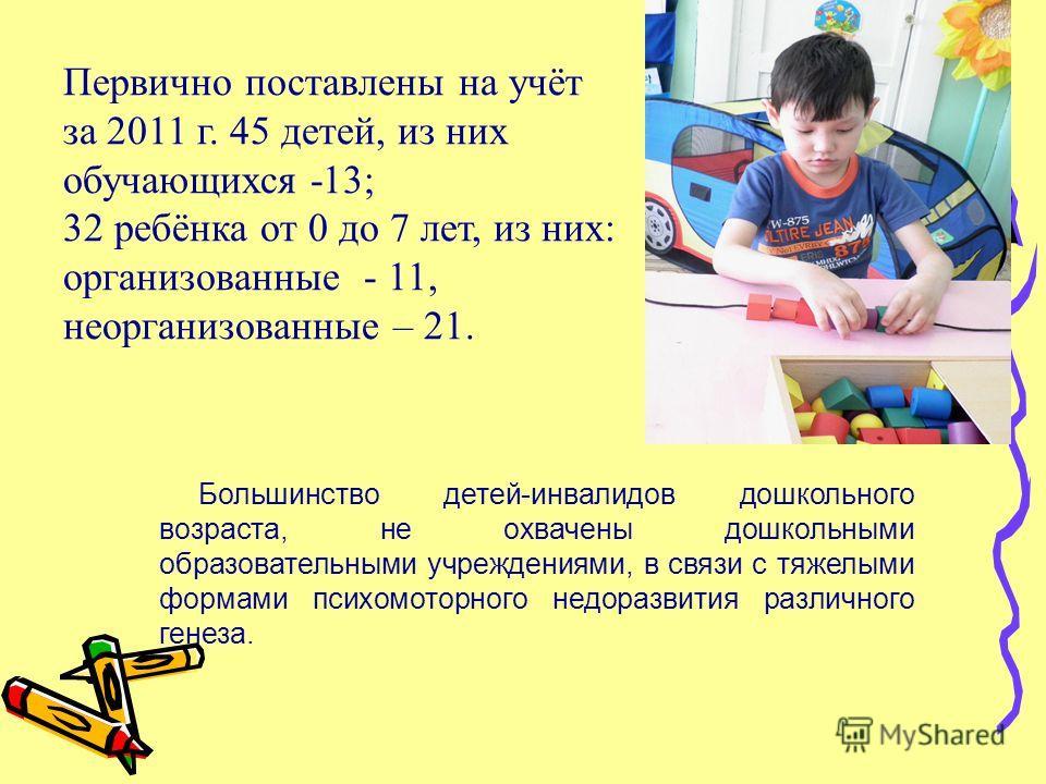 Первично поставлены на учёт за 2011 г. 45 детей, из них обучающихся -13; 32 ребёнка от 0 до 7 лет, из них: организованные - 11, неорганизованные – 21. Большинство детей-инвалидов дошкольного возраста, не охвачены дошкольными образовательными учрежден