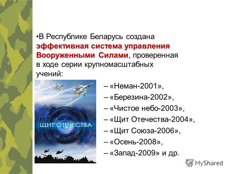 –«Неман-2001», –«Березина-2002», –«Чистое небо-2003», –«Щит Отечества-2004», –«Щит Союза-2006», –«Осень-2008», –«Запад-2009» и др. эффективная система управления Вооруженными СиламиВ Республике Беларусь создана эффективная система управления Вооружен