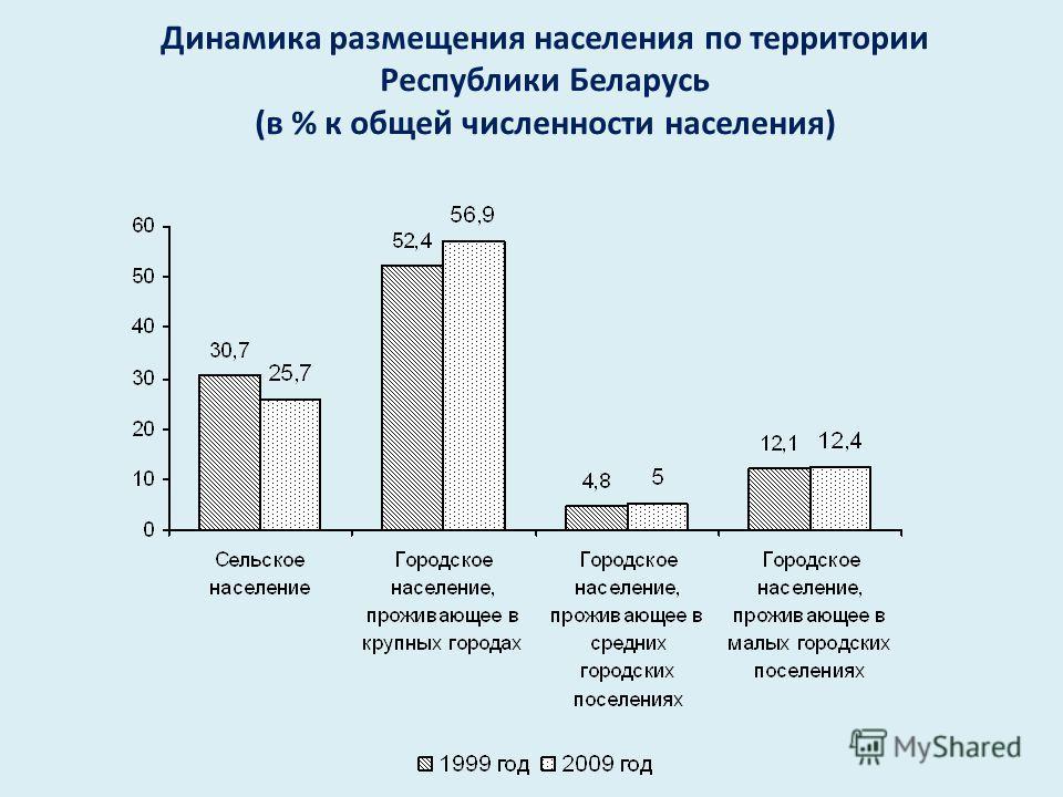 Динамика размещения населения по территории Республики Беларусь ( в % к общей численности населения )