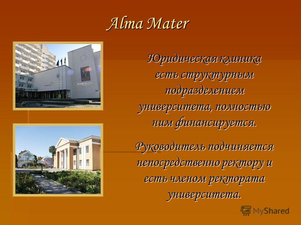 Alma Mater Юридическая клиника есть структурным подразделением университета, полностью ним финансируется. Руководитель подчиняется непосредственно ректору и есть членом ректората университета.