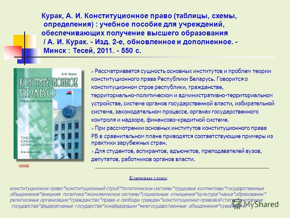Рассматривается сущность основных институтов и проблем теории конституционного права Республики Беларусь. Говорится о конституционном строе республики, гражданстве, территориально-политическом и административно-территориальном устройстве, системе орг