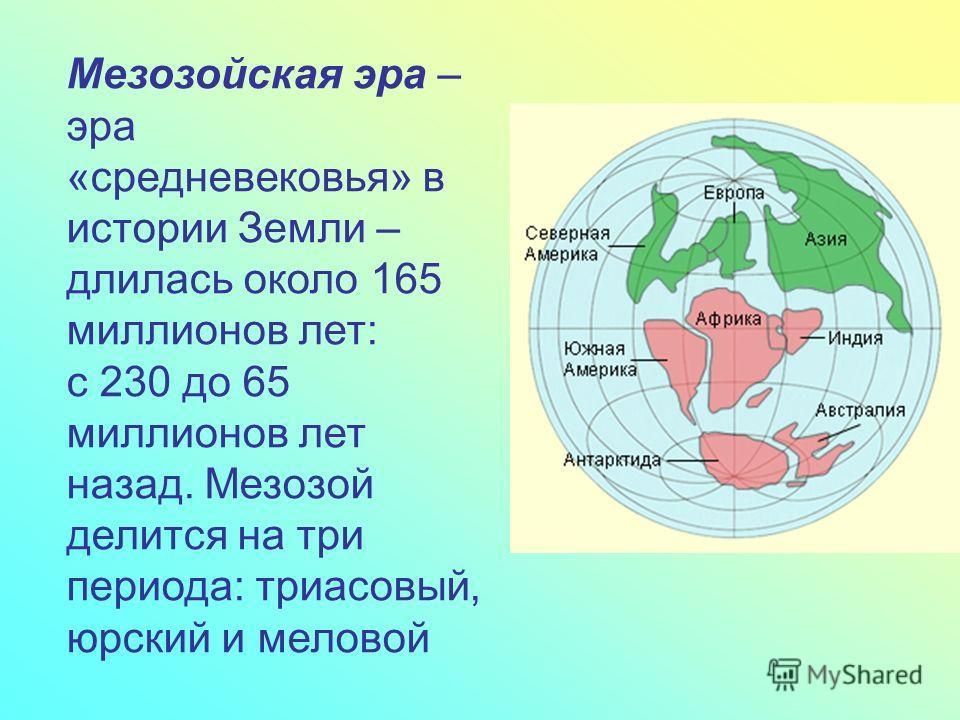 Мезозойская эра – эра «средневековья» в истории Земли – длилась около 165 миллионов лет: с 230 до 65 миллионов лет назад. Мезозой делится на три периода: триасовый, юрский и меловой