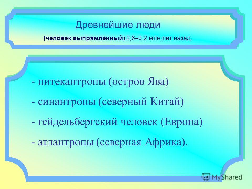 Древнейшие люди (человек выпрямленный) 2,6–0,2 млн.лет назад. - питекантропы (остров Ява) - синантропы (северный Китай) - гейдельбергский человек (Европа) - атлантропы (северная Африка).