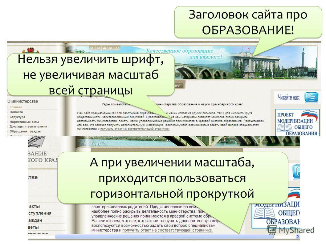 Заголовок сайта про ОБРАЗОВАНИЕ! Нельзя увеличить шрифт, не увеличивая масштаб всей страницы А при увеличении масштаба, приходится пользоваться горизонтальной прокруткой