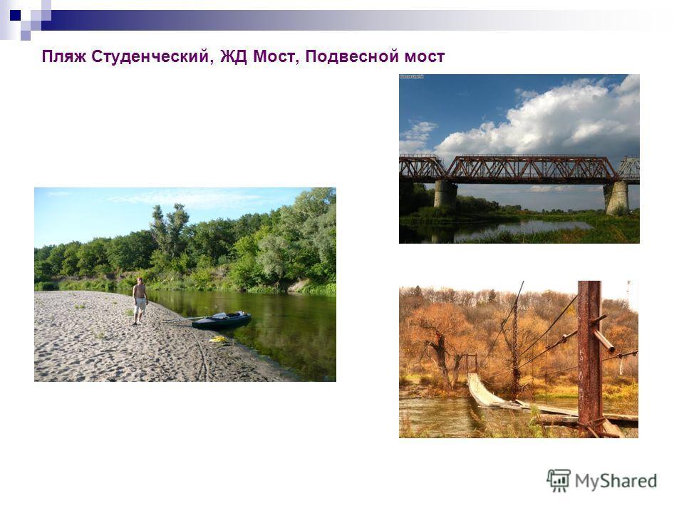 Пляж Студенческий, ЖД Мост, Подвесной мост