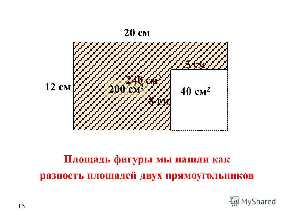 12 см 20 см 200 см 2 Площадь фигуры мы нашли как разность площадей двух прямоугольников 16 5 см 8 см 40 см 2 240 см 2