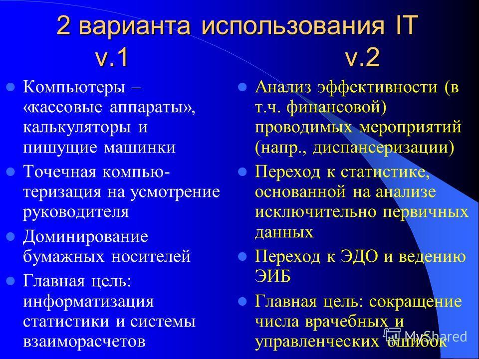 2 варианта использования IT v.1 v.2 Компьютеры – «кассовые аппараты», калькуляторы и пишущие машинки Точечная компью- теризация на усмотрение руководителя Доминирование бумажных носителей Главная цель: информатизация статистики и системы взаиморасчет