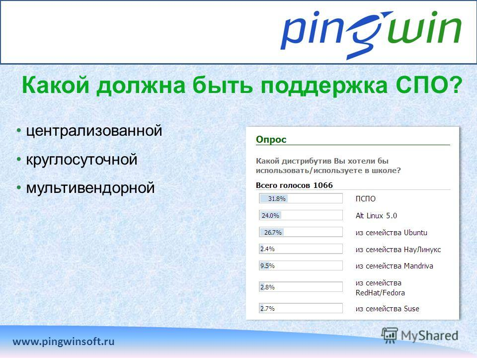 Какой должна быть поддержка СПО? www.pingwinsoft.ru централизованной круглосуточной мультивендорной