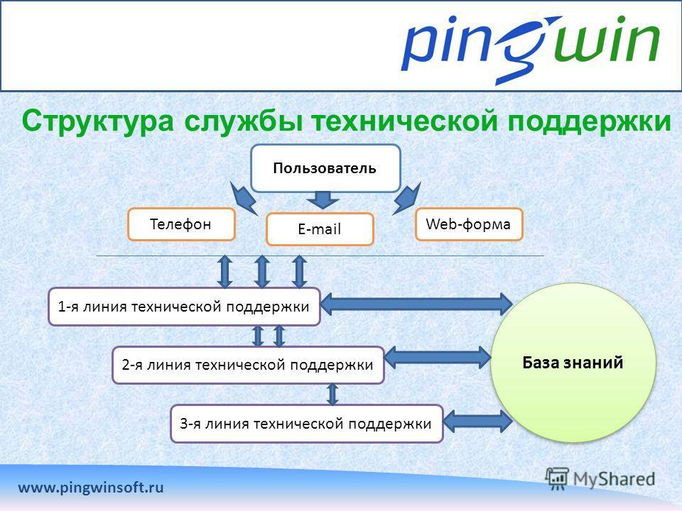 Структура службы технической поддержки www.pingwinsoft.ru Пользователь Телефон E-mail Web-форма 1-я линия технической поддержки 2-я линия технической поддержки 3-я линия технической поддержки База знаний