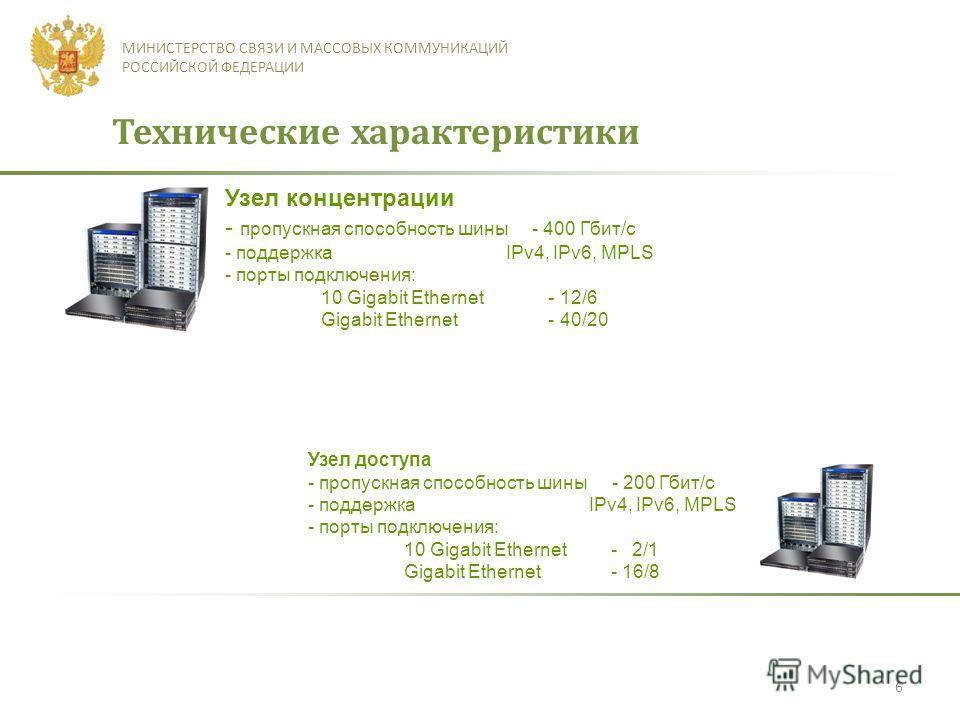 6 МИНИСТЕРСТВО СВЯЗИ И МАССОВЫХ КОММУНИКАЦИЙ РОССИЙСКОЙ ФЕДЕРАЦИИ Технические характеристики Узел концентрации - пропускная способность шины - 400 Гбит/с - поддержка IPv4, IPv6, MPLS - порты подключения: 10 Gigabit Ethernet - 12/6 Gigabit Ethernet -
