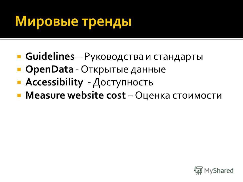 Guidelines – Руководства и стандарты OpenData - Открытые данные Accessibility - Доступность Measure website cost – Оценка стоимости
