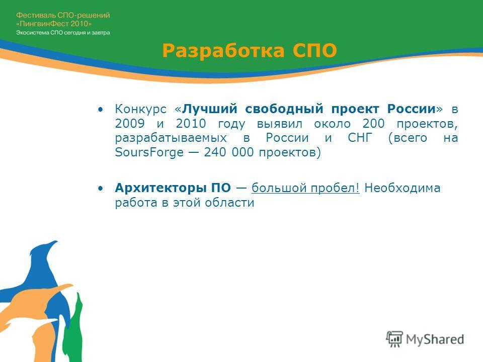 Конкурс «Лучший свободный проект России» в 2009 и 2010 году выявил около 200 проектов, разрабатываемых в России и СНГ (всего на SoursForge 240 000 проектов) Архитекторы ПО большой пробел! Необходима работа в этой области Разработка СПО