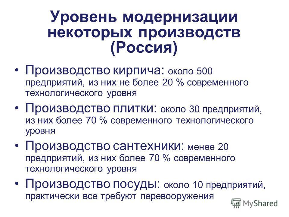 Этот проект финансируется ЕС Funded by the European Union Уровень модернизации некоторых производств (Россия) Производство кирпича: около 500 предприятий, из них не более 20 % современного технологического уровня Производство плитки: около 30 предпри