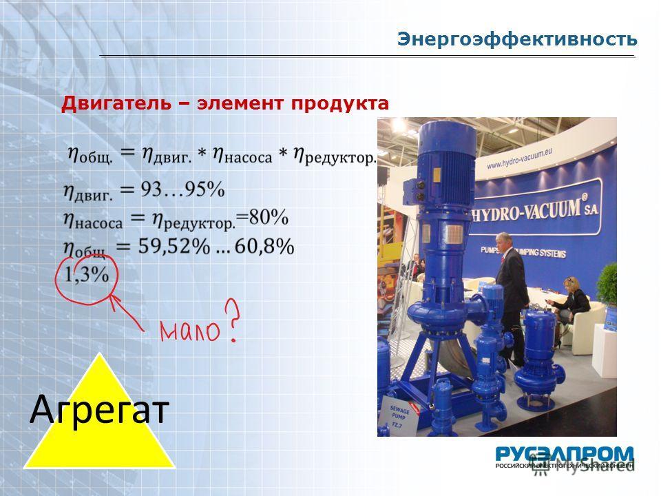 Двигатель – элемент продукта Энергоэффективность Агрега т