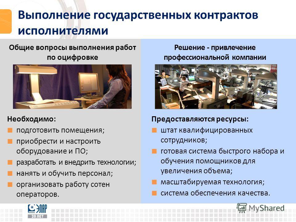 Выполнение государственных контрактов исполнителями Общие вопросы выполнения работ по оцифровке Необходимо: подготовить помещения; приобрести и настроить оборудование и ПО; разработать и внедрить технологии; нанять и обучить персонал; организовать ра