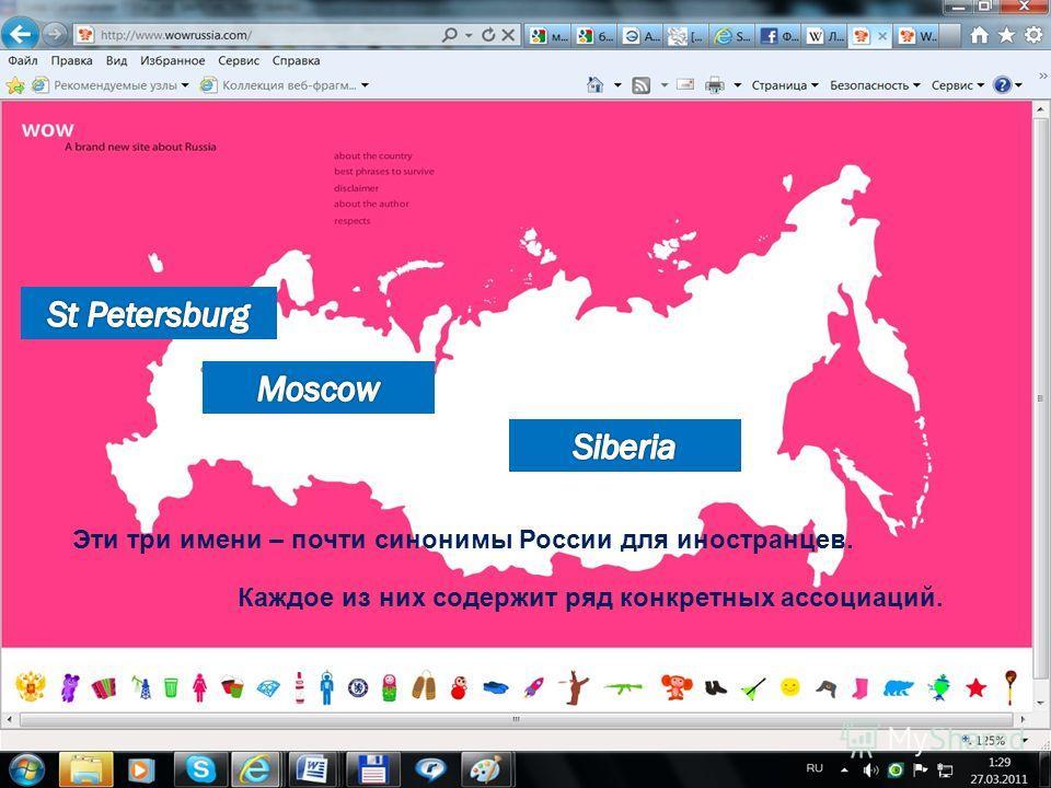 8 Эти три имени – почти синонимы России для иностранцев. Каждое из них содержит ряд конкретных ассоциаций.