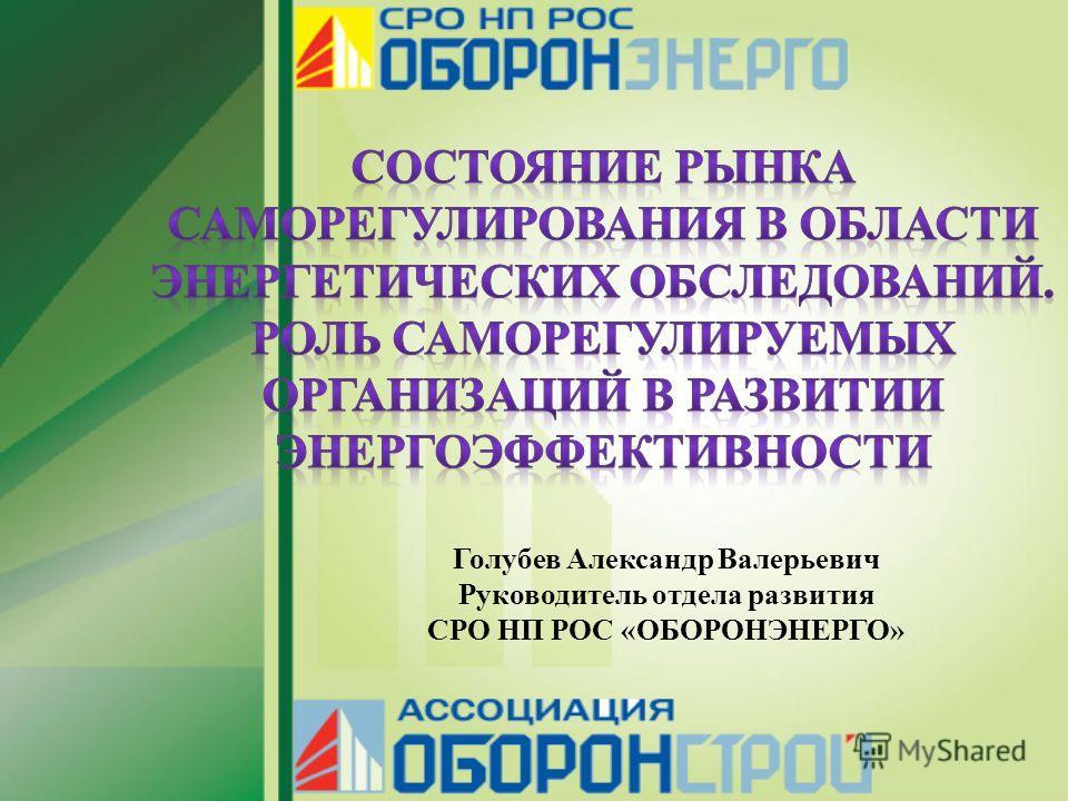 Голубев Александр Валерьевич Руководитель отдела развития СРО НП РОС «ОБОРОНЭНЕРГО»