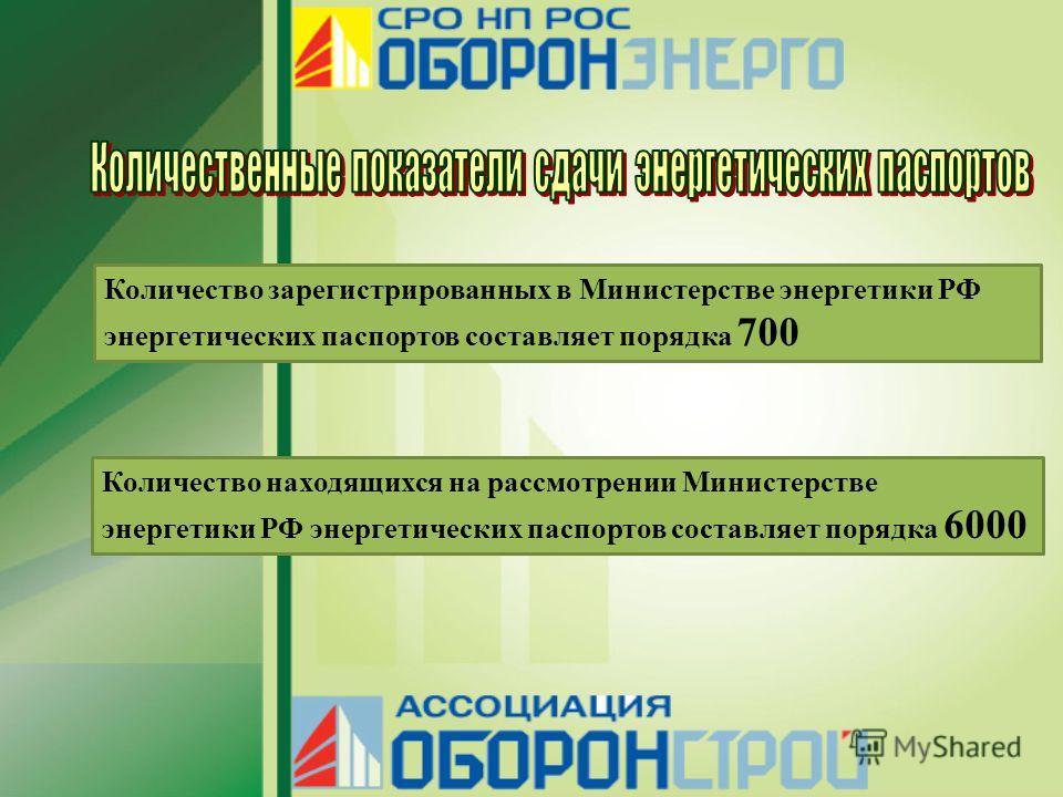 Количество зарегистрированных в Министерстве энергетики РФ энергетических паспортов составляет порядка 700 Количество находящихся на рассмотрении Министерстве энергетики РФ энергетических паспортов составляет порядка 6000
