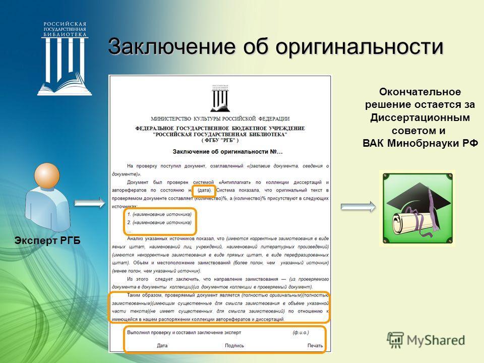 Заключение об оригинальности Эксперт РГБ Окончательное решение остается за Диссертационным советом и ВАК Минобрнауки РФ