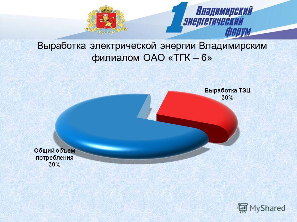 Выработка электрической энергии Владимирским филиалом ОАО «ТГК – 6» Выработка ТЭЦ 30% Общий объем потребления 30%