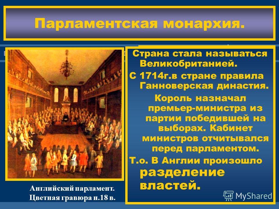 ЖДЕМ ВАС! Парламентская монархия. С 1689 г. и до н. време- ни Англия является парламентской мо- нархией. Король представляет страну,министры-уп- равляют,парламент контролирует их. Государственной рели- гией вновь стало анг- ликанство. В1707г. был под
