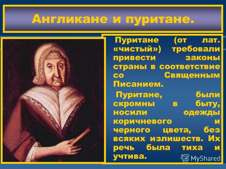 ЖДЕМ ВАС! Кальвинисты были недо- вольны тем как прош- ла реформация.Они требовали очищения от остатков католичес тва,отмены епископов и культа святых.Этих людей называли пури- тане. Одни из них-пресветери- ане-считали что цер- ковь должна управлять с