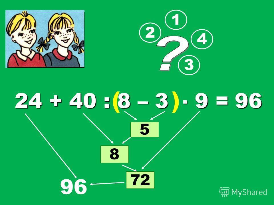 24 + 40 : 8 – 3 9 = 1 2 3 5 8 4 7272 96 ( ) 96