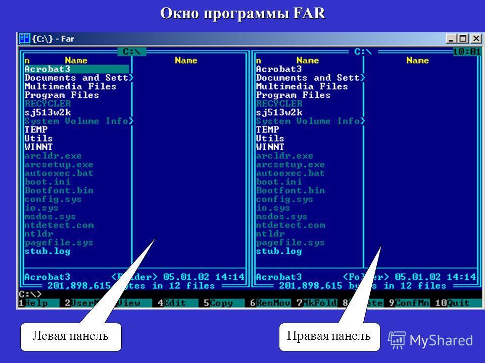 Окно программы FAR Левая панель Правая панель