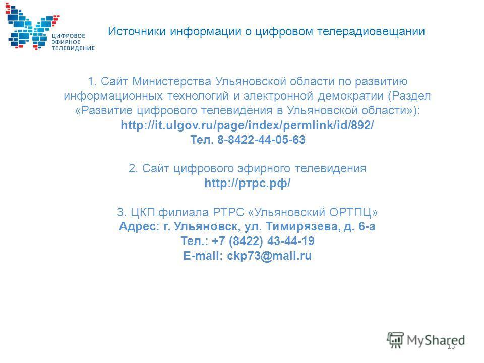 Источники информации о цифровом телерадиовещании 1. Сайт Министерства Ульяновской области по развитию информационных технологий и электронной демократии (Раздел «Развитие цифрового телевидения в Ульяновской области»): http://it.ulgov.ru/page/index/pe