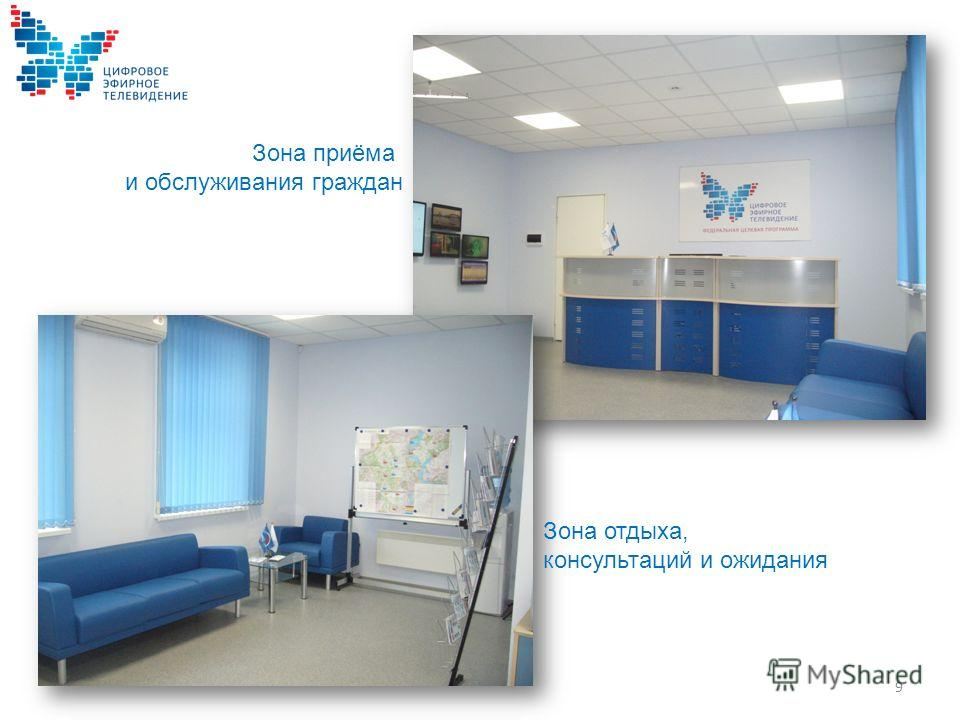 Зона приёма и обслуживания граждан Зона отдыха, консультаций и ожидания 9