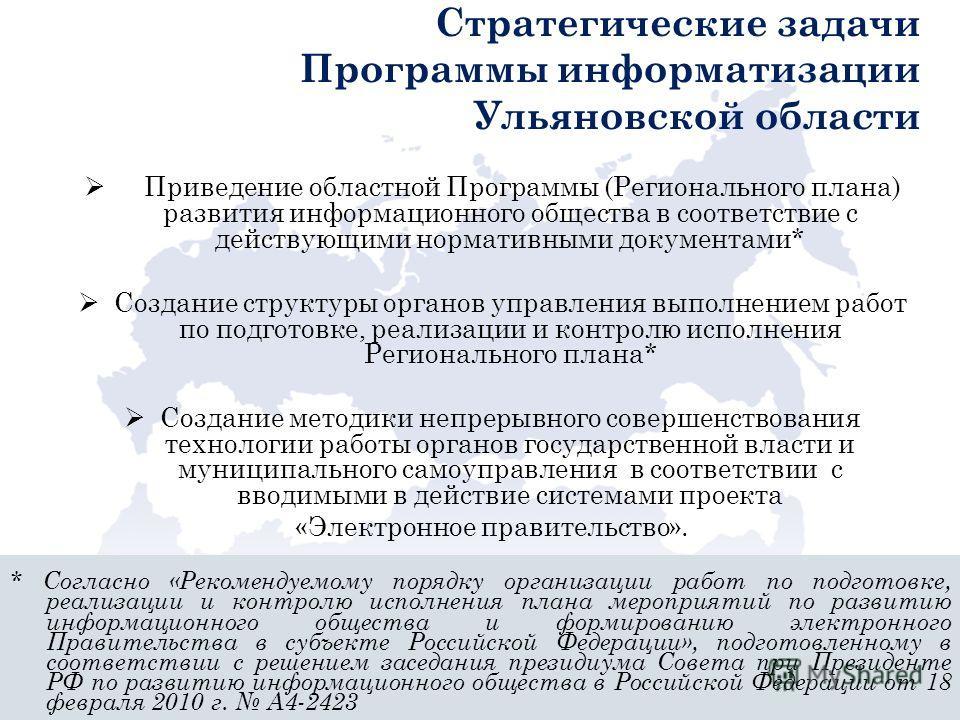 Стратегические задачи Программы информатизации Ульяновской области Приведение областной Программы (Регионального плана) развития информационного общества в соответствие с действующими нормативными документами* Создание структуры органов управления вы