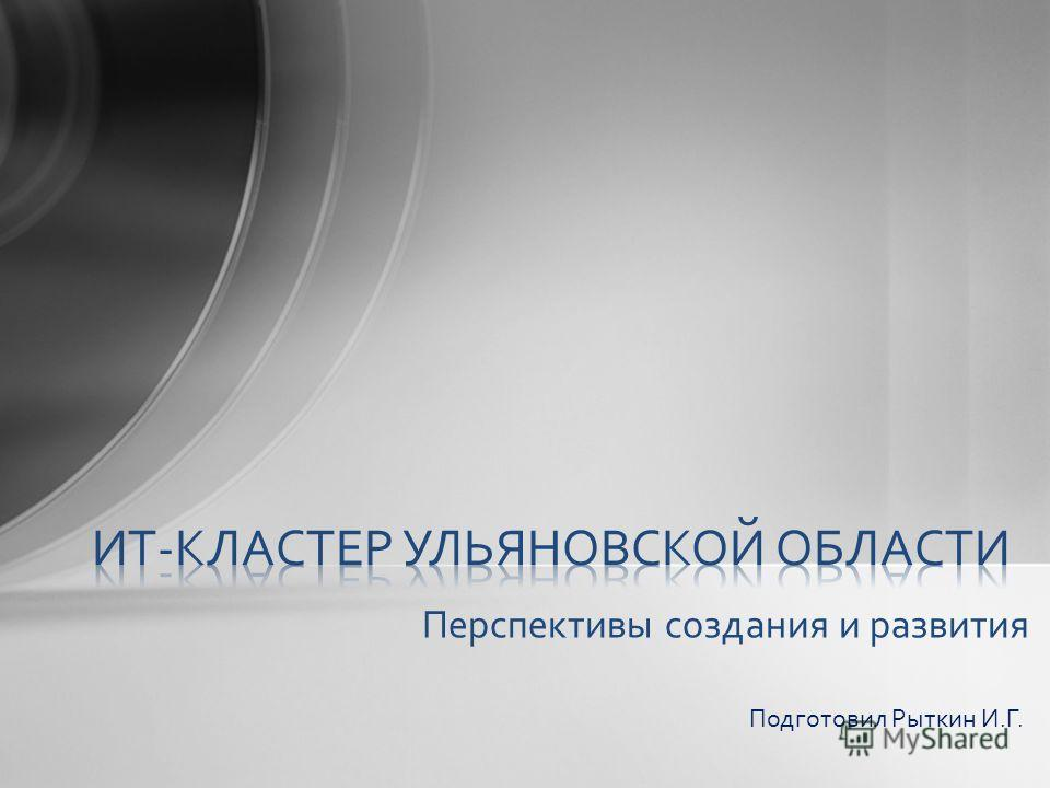 Перспективы создания и развития Подготовил Рыткин И.Г.