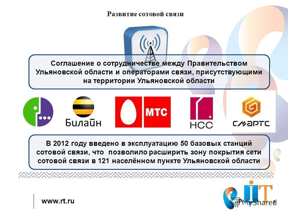 www.rt.ru 1 Развитие сотовой связи Соглашение о сотрудничестве между Правительством Ульяновской области и операторами связи, присутствующими на территории Ульяновской области В 2012 году введено в эксплуатацию 50 базовых станций сотовой связи, что по