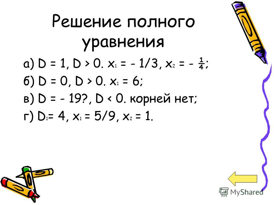 Решение полного уравнения а) D = 1, D > 0. х 1 = - 1/3, х 2 = - ¼; б) D = 0, D > 0. х 1 = 6; в) D = - 19?, D < 0. корней нет; г) D 1 = 4, х 1 = 5/9, х 2 = 1.