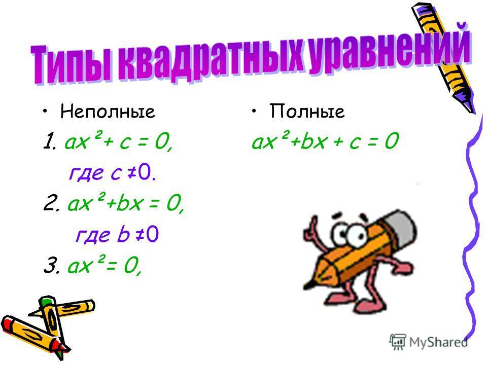 Неполные 1. ах²+ с = 0, где с 0. 2. ах²+bх = 0, где b 0 3. ах²= 0, Полные ах²+bх + с = 0