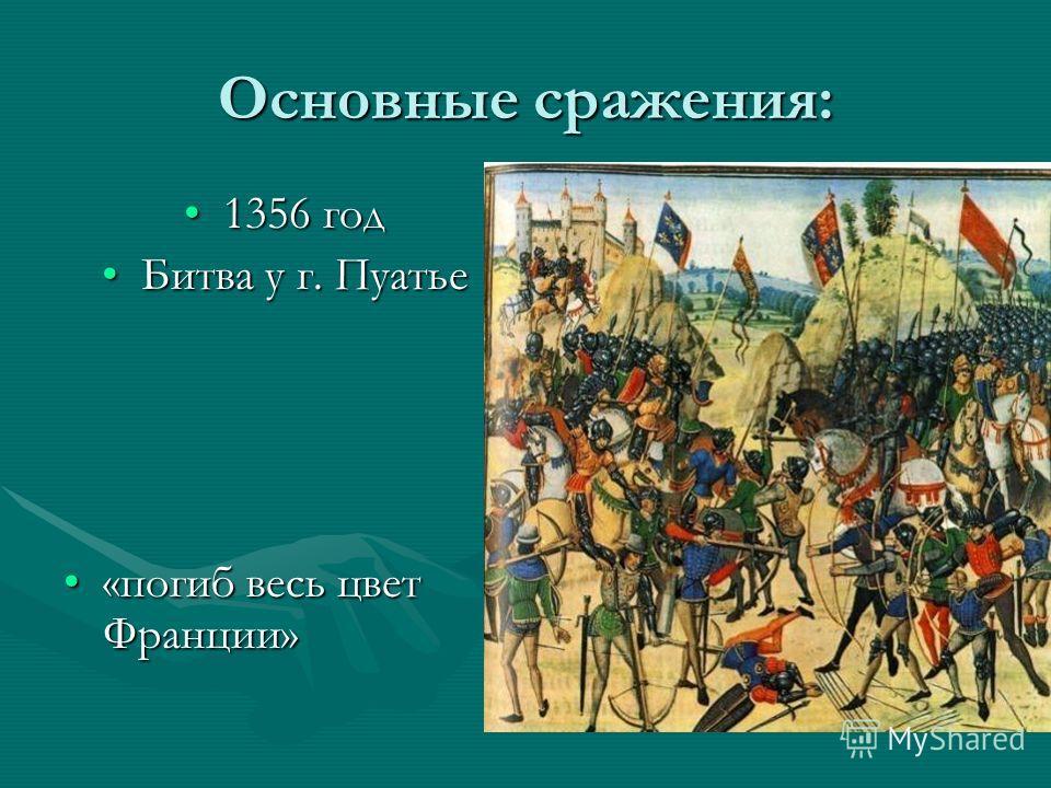 Основные сражения: 1356 год1356 год Битва у г. ПуатьеБитва у г. Пуатье «погиб весь цвет Франции»«погиб весь цвет Франции»