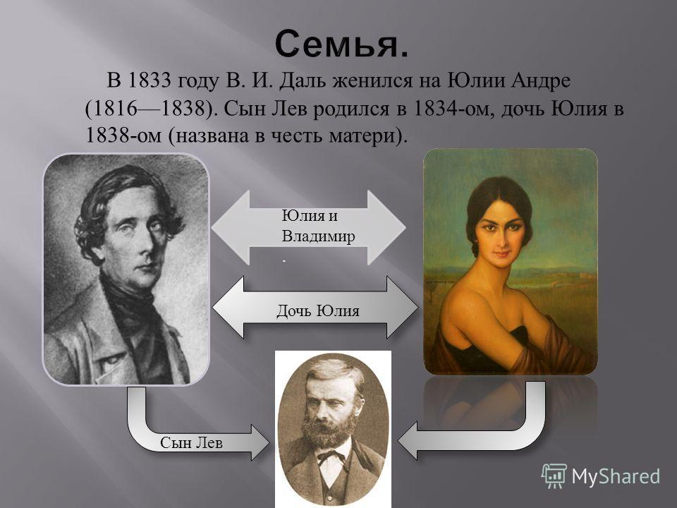 В 1833 году В. И. Даль женился на Юлии Андре (18161838). Сын Лев родился в 1834- ом, дочь Юлия в 1838- ом ( названа в честь матери ). Сын Лев Юлия и Владимир. Дочь Юлия